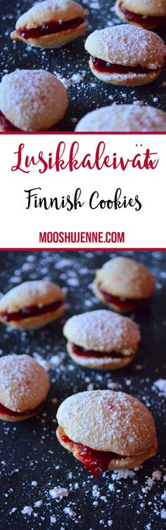We made Lusikkaleivät  also known as Finnish Teaspoon Cookies with homemade cranberry jam in the center.  Super simple and just perfect to add into a tin for Christmas sharing.