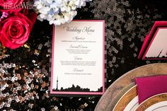Black sequins table setting, city line wedding stationery! ROMANTIC CITY CHIC WEDDING IDEAS www.elegantwedding.ca