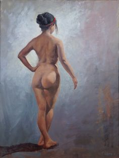"""Female Standing Nude from Back, by Cyprian Libera, oil on canvas, 18 x 24"""""""