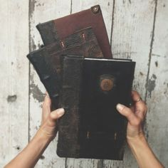"""Hand bound  journals covered with antique leather available through """"Take Your Time Loving Me"""" @Kickstarter Inc. Inc. Inc. Inc. Inc. Inc. Peg and Awl"""
