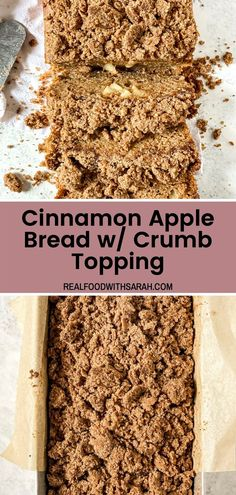 This Cinnamon Apple Bread is perfect for the Fall season. It is made healthier with whole wheat flour and topped with a delicious crumb topping. This recipe can be made with your favorite apple and is best enjoyed with your morning cup of coffee. Fall Crockpot Recipes, Apple Recipes, Pumpkin Recipes, Fall Recipes, Real Food Recipes, Loaf Recipes, Drink Recipes, Fall Dessert Recipes, Fall Desserts