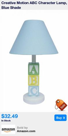ABC Character Lamp, Blue Shade * Kid's room decor and lights * Great for gift or home decor