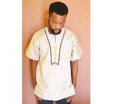African Men Shirt Embroidery Men shirt creme Men by AfrowearHouse