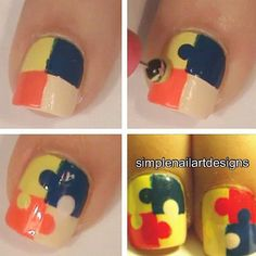 Nails Tutorial~adorable idea, FUGLY choice of colors~I would use totally different colors~