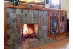 Bungalow hearth and bookshelf.  #library