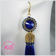 Kolczyki z chwostem i kryształem Swarovski Kolorystyka: niebieski, złoty Swarovski, Royal Blue, Pendant Necklace, Drop Earrings, Elegant, Handmade, Jewelry, Fashion, Classy