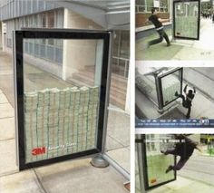 this ad is for 3M security glass. it uses the product itself in the campaign. with minimal copy i consider it quite effective. the only title is displaying what the product you see is, which is security glass from the company 3M.