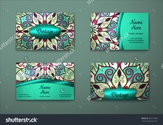 Vector Vintage Visiting Card Set. Floral Mandala Pattern And Ornaments. Oriental Design Layout. Islam, Arabic, Indian, Ottoman Motifs. Front Page And Back Page. - 380179780 : Shutterstock