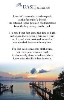 It is a graphic of Dashing The Dash Poem Printable Pdf