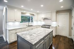 Love how bright this custom transitional kitchen is!