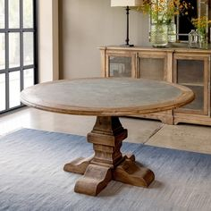 Rustic Round Dining Table, Zinc Table, Dining Room Table, Circle Dining Table, Round Tables, Round Kitchen Tables, Dining Area, Round Farmhouse Table, Tall Table