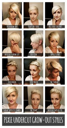 Pixie undercut grow out hairstyles Pixie Undercut, Undercut Hairstyles, Pixie Hairstyles, Pixie Haircut, Pretty Hairstyles, Short Haircuts, Undercut Styles, Growing Out Undercut, Growing Out Short Hair Styles