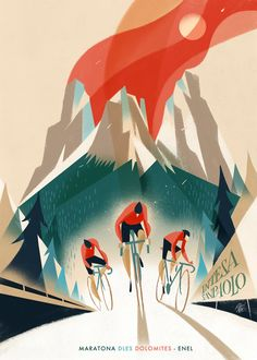 "30 posters created to commemorate the 30th anniversary of ""Maratona dles Dolomites"""