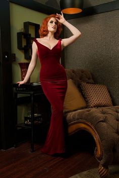 Laura Byrnes Gilda Gown in Burgundy Velvet by Pinup Couture,