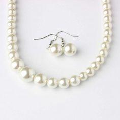30ab8931bb46cc Set di collana e orecchini perla di color bianco con metallo color rodio