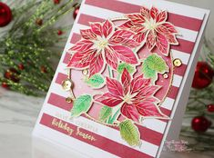 Hello everyone! Today I have a holiday card to share with you! The theme of The Flower Chall. Holiday Cards, Christmas Cards, Winter Flowers, Christmas Wrapping, Hello Everyone, Paper Crafting, Cardmaking, Special Occasion, November