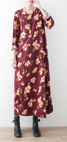 a40b561ef026 Classy cotton clothes For Women Korea O neck Chinese Button Neckline  burgundy print Maxi Dresses Plus