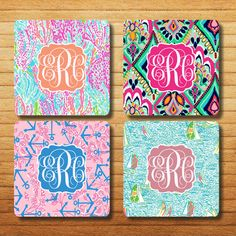 NEW Lilly Pulitzer pattern colorful monogrammed Set of 4 or set of 6 coasters Lets Cha Cha YaGottaRegatta Anchors Crown Jewels on Etsy, $10.95