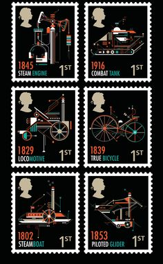 Petros Afshar created a series of stamp designs for the Royal Mail. The concept was to highlighting british inventions through use of imagery and typography Uk Stamps, Love Stamps, Postage Stamp Design, Postage Stamps, Graphic Design Posters, Graphic Design Illustration, Postage Stamp Collection, Graphisches Design, Pin Up