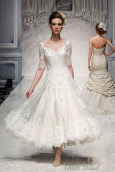 lace v neck half sleeves lace appliques one tulle ankle length wedding dress