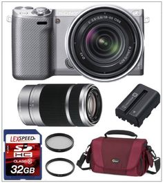 Sony NEX-5RK/S 16.1 MP Compact Interchangeable Lens Digital Camera (Silver) with 18-55mm Lens and 3-Inch LCD (Silver) + Sony SEL 55-210mm F4.5-6.3 Lens + Case + Spare Rechargeable Battery + LEXSpeed 32GB SDHC Memory Card + Multi-Coated Filter Kit by Sony. $1048.00. The Willoughby's Sony NEX-5RK/S Kit Includes:  1. Sony NEX-5RK/S 16.1 MP Compact Interchangeable Lens Digital Camera (Silver) with 18-55mm Lens and 3-Inch LCD (Silver) 2. Sony SEL 55-210mm F4.5-6.3 Lens for...