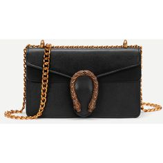 SheIn(sheinside) Metal Detail Faux Leather Chain Bag (525 CZK) ❤ liked on Polyvore featuring bags, handbags, shoulder bags, black, synthetic leather handbag, faux leather crossbody, faux leather purses, faux leather handbags and chain handbags