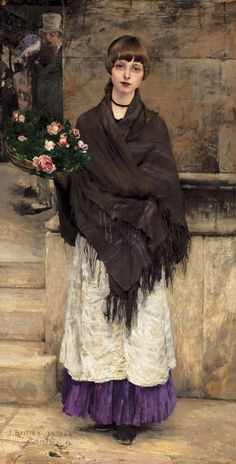 fleurdulys:  The Flower Seller - Jules Bastien Lepage 19th century