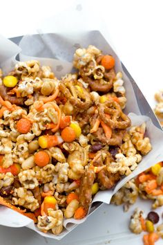 This fun and festive peanut butter Halloween party mix will satisfy you sweet tooth!