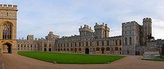 Windsor Castle ~ The South Wing of the Upper Ward; the Official Entrance to the State Apartments is on the left