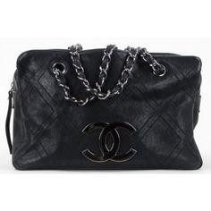 Chanel Black Caviar Leather Small Outdoor Ligne Diamond Stitch Shopper Tote