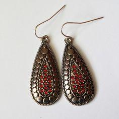 Red Stone Teardrop Earring - Online Shopping for Earrings by Kathya