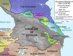Kingdom of Georgia in at the peak of its power under David IV of Georgia. Don-kun *derivative work: - File:Caucasus 1124 AC de alt.svg Caucasus region in late 1124 AD Georgia Country, Blue Green Eyes, Black Sea, Prehistory, Historical Maps, 14th Century, World History, Reign, Middle East