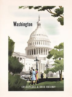 Original 1950s US Rail Travel Poster Washington BERN HILL