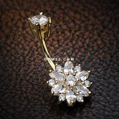 Golden Sparkle Magnificent Flower Belly Button Ring-Clear