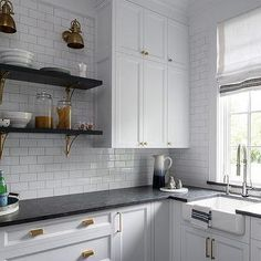 White and Black Butlers Pantry with Leathered Black Granite Countertops - granite countertops White Cabinets White Countertops, Black Kitchen Countertops, Granite Countertops Colors, White Shaker Cabinets, Country Countertops, Types Of Countertops, Corian Countertops, Black Kitchens, Home Kitchens