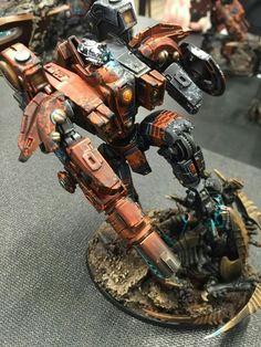 Tau and Nids Riptide Battlesuit Warhammer 40k Figures, Warhammer 40k Art, Tau Army, Miniaturas Warhammer 40k, Tau Empire, Mini Paintings, Space Marine, Art Model, War Machine