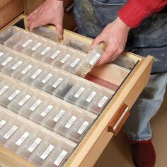 Get organized in the shop like the 44-plus boxes that rest on edge, labels up, for easy grabbing and stowing. This is for super-organized shop rats, though.