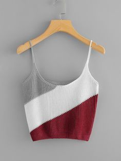 Casual Cami Colorblock Regular Fit Scoop Neck and Spaghetti Strap Multicolor Crop Length Color Block Knit Cami Top Crochet Bra, Crochet Clothes, Crochet Top Outfit, Motif Bikini, Crop Top Pattern, Crochet Earrings Pattern, Crochet Tank Tops, Teen Fashion Outfits, Knit Fashion