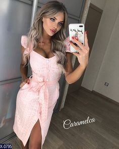 Lovely selfie and makeup Lovely selfie and makeup Vintage Style Dresses, Nice Dresses, Casual Dresses, Summer Dresses, Dress Outfits, Fashion Dresses, Cute Outfits, Stylish Winter Coats, Pink Dress