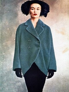theniftyfifties:    Lisa Fonssagrives wearing a Balenciaga barrel line coat, 1950.  Photo by Irving Penn. #EasyNip