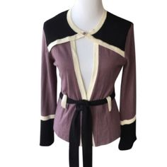 Temperley London Belted Sweater Beautiful purple color with black and Ivory trim, two buttons and belted waist.  Slight piling illustrated in fourth picture.  Silk, nylon and cashmere blend.  Wore once.  No trades. Temperley London Sweaters