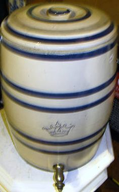 A lemonade cooler ^.^)  This is a vintage stoneware lemonade/water cooler with cobalt stripes, produced by the Robinson Ransbottom Pottery Company of Roseville, Ohio. #Collectibles #HABD