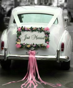 """Our 1962 white vintage Rolls Royce LWB wedding getaway car, with a """"Just Married"""" sign. Diy Wedding, Wedding Flowers, Wedding Photos, Dream Wedding, Wedding Day, Wedding White, Wedding Limo, Wedding Blog, Rustic Wedding"""