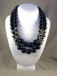 Black and White Double Strand Necklace for Women by ElegantFacets, $95.00