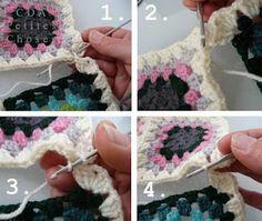 tuto pour assembler des carrés au crochet