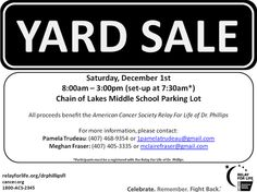 TheDailyCity.com: Yard Sale to Benefit American Cancer Society Relay For Life of Dr Phillips