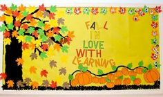 The best bulletin board ideas are the ones that, with only minimal alterations, can be used to complement several different units, seasons, or themes. This fall bulletin board idea from Renée. September Bulletin Boards, Elementary Bulletin Boards, Bulletin Board Paper, Preschool Bulletin Boards, Bulletin Board Display, Classroom Bulletin Boards, Classroom Decor, Bullentin Boards, Classroom Design