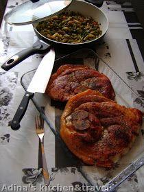 Adina's kitchen & travel: Jambon de porc suculent cu garnitura de fasole verde aromata Gordon Ramsay, Pork, Meat, Chicken, Kitchen, Travel, Projects, Green, Kitchens