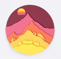 9x9 glass framed original art. Diorama styled or 2d papercuts layered with paper to make 3d. The shapes are hand cut and then glued together. The image is of a mountain with the hills leading up to it in shades of red and oranges. Its like looking at a mountain thats covered in trees and other plants. No actual mountains were deliberately depicted in the making of this art piece. Picture taken without glass to reduce glare. Product comes glass framed.