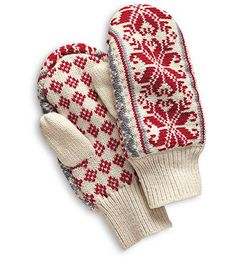Our wool blend mittens are knit in a traditional Nordic snowflake design with ribbed cuffs to seal cold out; microfleece lining adds warmth. Mittens Pattern, Knit Mittens, Crochet Gloves, Knit Crochet, Mountain Style, Fair Isle Pattern, Snowflake Designs, Fair Isle Knitting, Cute Rings